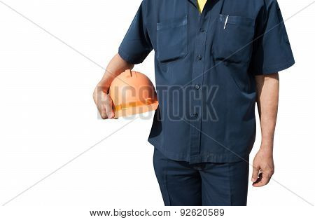Engineer Holding Orange Helmet For Workers Security On Background