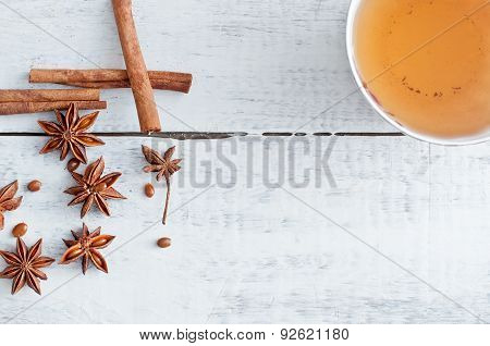 Cinnamon Stick, Star Anise And Cup Of Tea