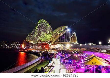 SYDNEY AUSTRALIA - JUNE 5 2015; Sydney Opera House illuminated with colourful light