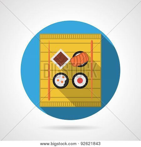 Sushi menu flat color vector icon