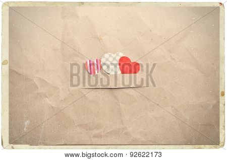Hearts On Crumpled Paper