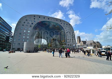 Rotterdam, Netherlands - May 9, 2015: People Visit Markthal (market Hall) A New Icon In Rotterdam.
