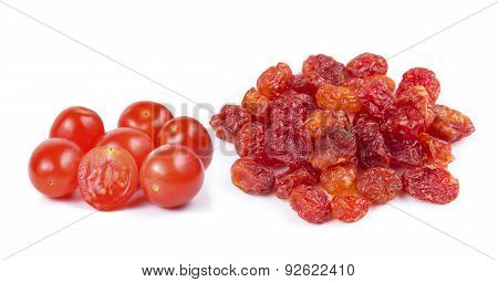 Dried Tomato And Red Cherry Tomatoes On White Background
