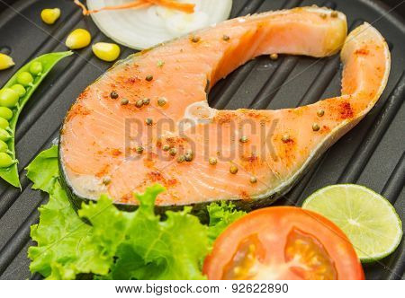 The Salmon Fish On A Pan.