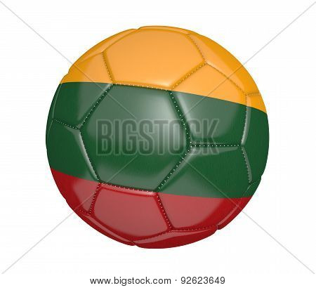 Soccer ball, or football, with the country flag of Lithuania
