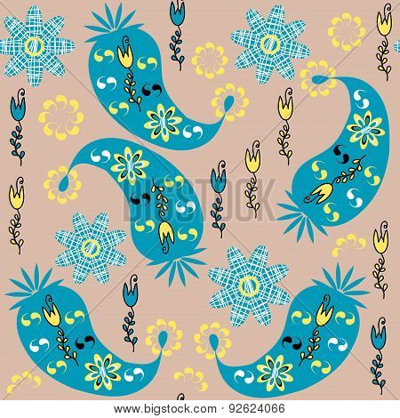 Paisley Seamless Pattern And Seamless Pattern In Swatch Menu, Vector Image