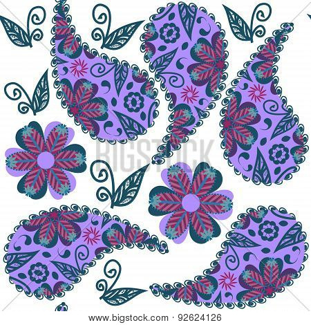 Paisley Seamless Colorful Pattern In Lilac And Green Colors And Seamless Pattern In Swatch Menu, Vec