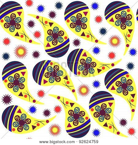 Simple Paisley Seamless Pattern In Yellow, Blue, Bordo, Orange  Colors And Seamless Pattern In Swatc