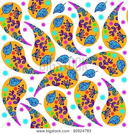 Orange Paisley Seamless Pattern And Seamless Pattern In Swatch Menu, Vector. Colorful Tileable Textu