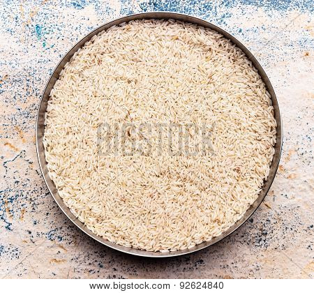 closeup of long grain rice that is grown in North India also called as Basmati rice