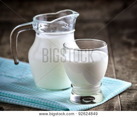 Milk In A Glass On Wooden