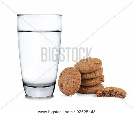Glass Of Water And Cookie On White Background