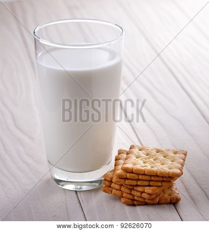 Glass Of Milk And Cracker On Whitewood