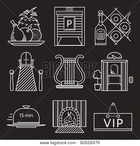 Restaurant white line vector icons