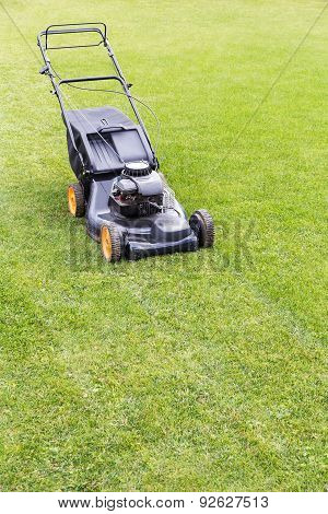 Lawn Mover On Green Lawn