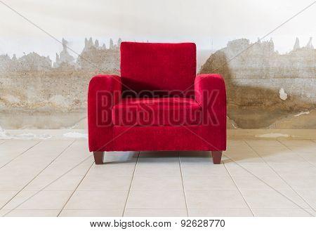 Red Velvet Sofa.