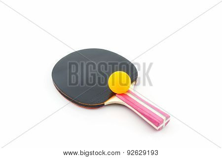Table Tennis (ping-pong) Racket And A Ball.