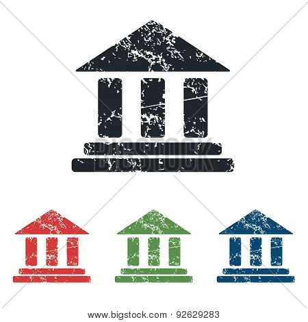 Classical building grunge icon set