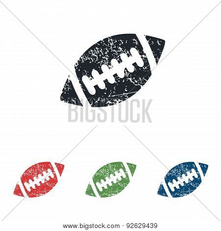 Rugby ball grunge icon set