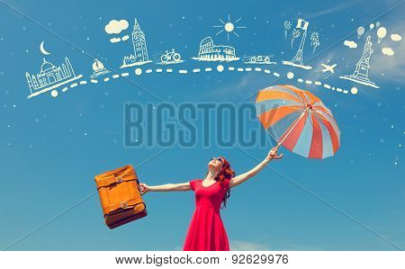 Girl In Red Dress With Suitcase And Umbrella
