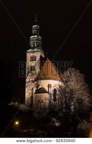 Church In Salzburg By Night, Austria, 2015