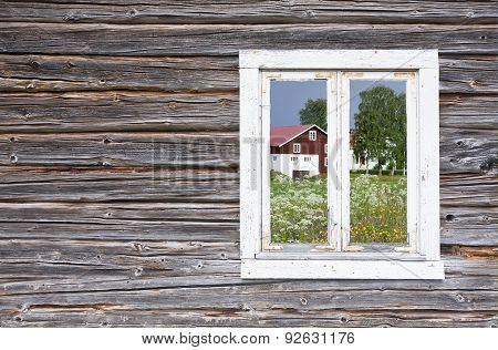 View through a window on a wooden wall.