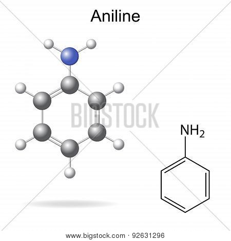 Structural Formula And Model Of Aniline