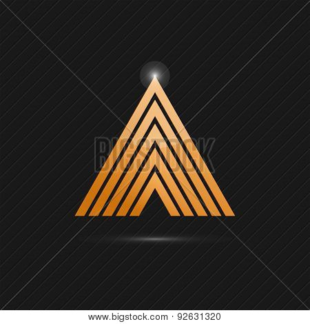 Delta Letter Logo Template On Dark Background