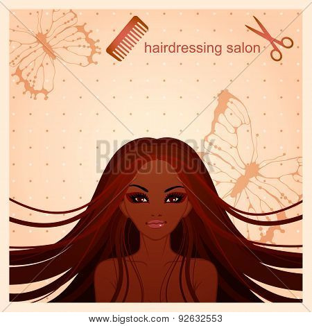vector illustration of Afro-American girl for a hairdressing salon