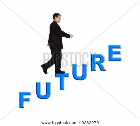 Businessman And Stairs Future