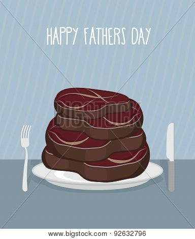 Father's day. Bunch of delicious mouth-watering beef steaks. Food for men. Vector illustration.  Con