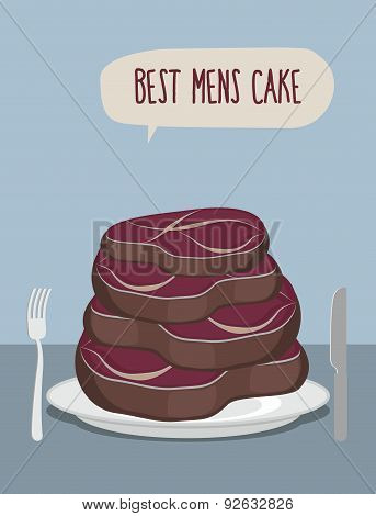 Best mens cake. Cake of steaks. Pieces of meat in  form of a cake. Vector illustration