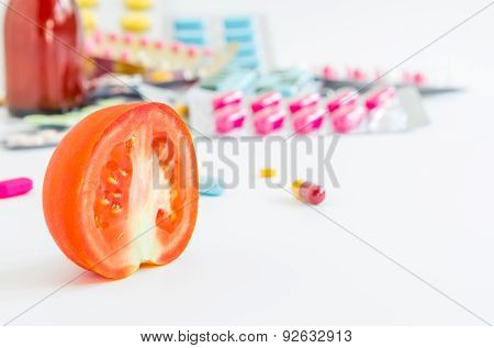 Tometo, Pharmacy, Medicine And Medical On White Background.