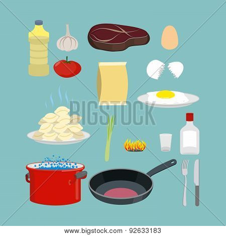 Set of kitchen utensils and food. Pan and casserole, meat and eggs. Vector objects for infographics
