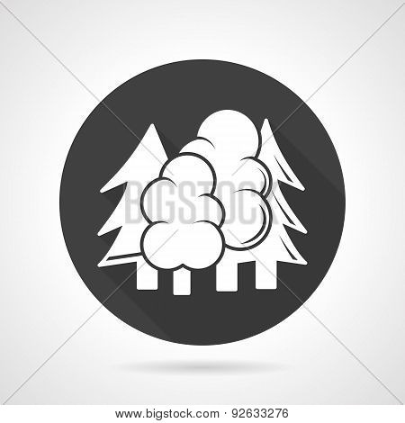 Forest black round vector icon