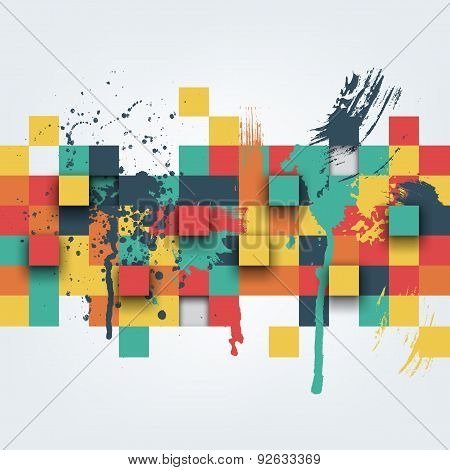 Illustration of abstract texture with squares and paint splashes.