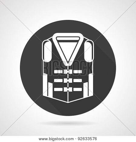 Life vest black round vector icon