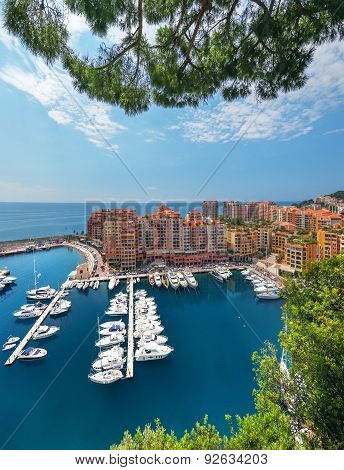 Scenic View On Fontvieille And Monaco Harbor