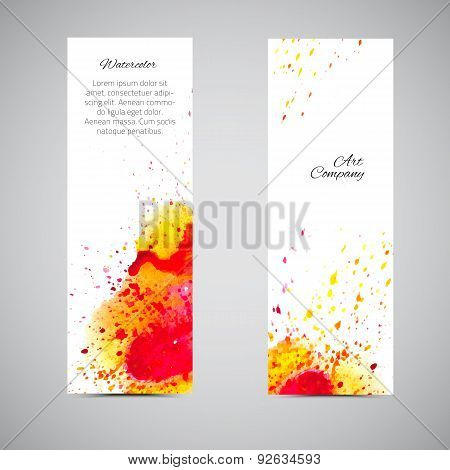 Vector Banner Set Watercolor