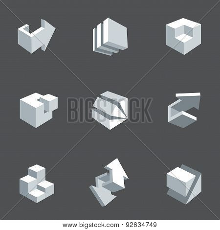 Vector illustration of abstract arrows and cubes.