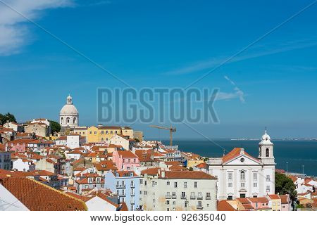 Lisbon Skyline With National Pantheon And St Stephen Church (igreja De Santo Estevao) .