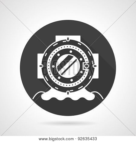 Old dive helmet black round vector icon