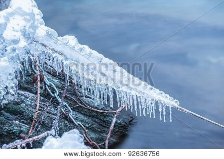 Snow And Ice On Rope