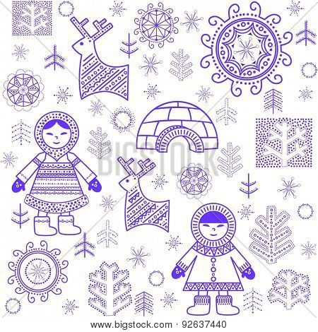 Winter abstract wallpaper with Eskimo and igloo