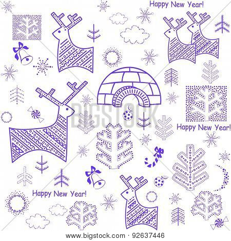 New years wallpaper with reindeer and igloo