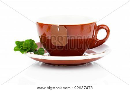 Cup Of Tea With Tea Bag And Mint Plant (blank Label)