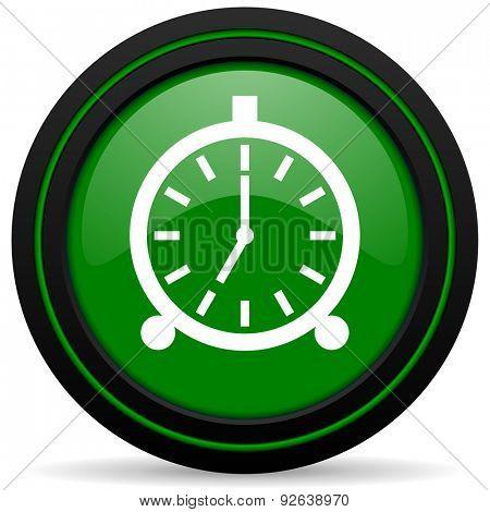 alarm green icon alarm clock sign