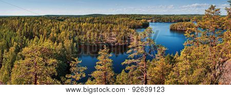 Finland forest and lake autumn panorama.