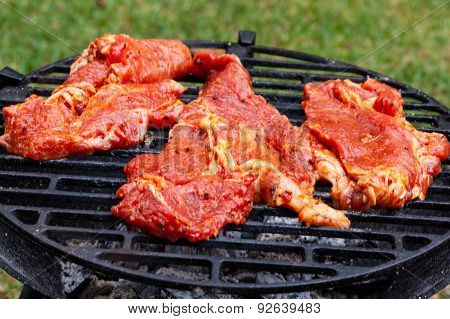 Grilling Pork Steaks On Barbecue Grill