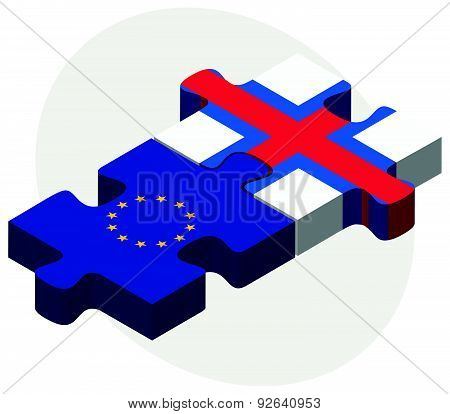 European Union And East Timor Flags In Puzzle
